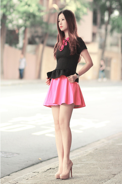 bubble gum Choies necklace - black beckybwardrobe top - bubble gum Choies skirt