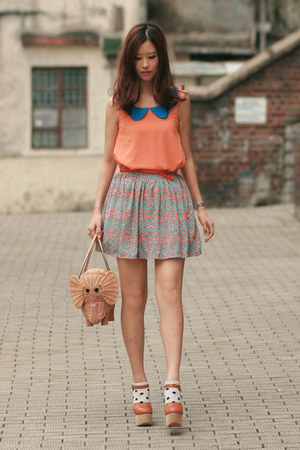 sky blue wwwyesstylecom skirt - tan kate spade bag - orange wwwchicwishcom vest