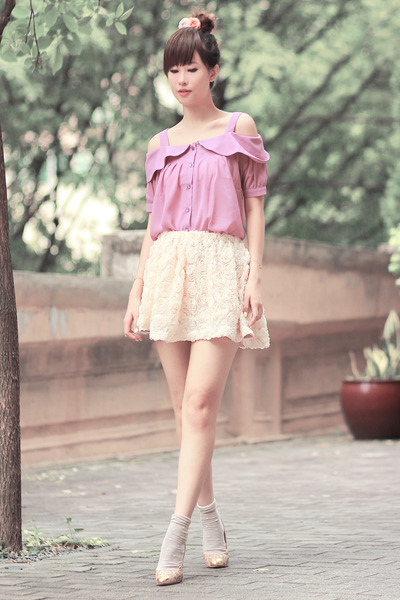 light purple ianywear top - ivory romwe skirt