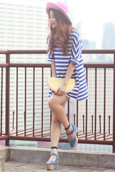 blue romwe dress - bubble gum kate spade hat - yellow Monki bag