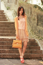 salmon sugarfree shoes heels - yellow romwe bag - off white Yesstyle skirt