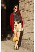 ruby red Chicwish coat - navy romwe shirt