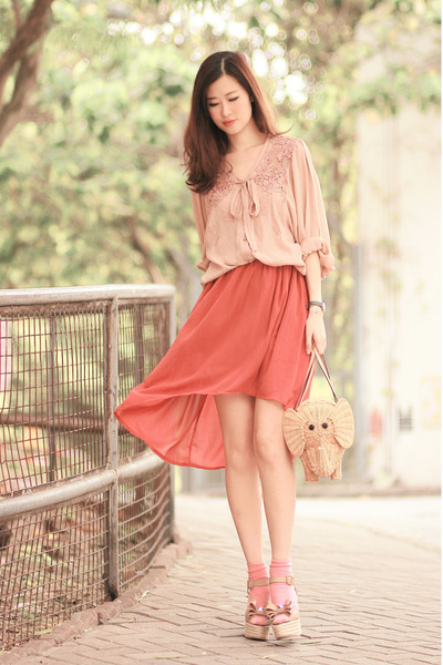 peach Chicwish shirt - carrot orange romwe skirt - tan Valentino wedges