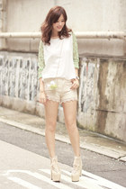 lime green Chicwish top - white Choies bag - ivory romwe shorts