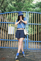 blue Uniqlo hat - silver oxfords Melissa shoes - blue skorts shorts