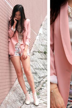 pink Bershka shorts - pink yull blazer - white Zara blouse - green