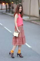dark brown Vero Cuoio heels - coral JDC skirt - carrot orange romwe vest