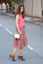 dark brown Vero Cuoio heels - coral JDC skirt - carrot orange romwe vest