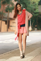 navy Club Couture dress - hot pink heilee blouse - blue janelle necklace