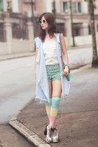 periwinkle romwe jacket - neutral Choies boots - turquoise blue Chicwish shorts