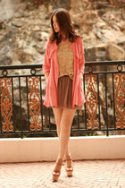 tawny Opening Ceremony heels - salmon STAR coat - gold sequin Yesstyle vest