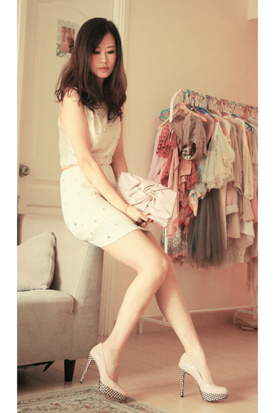 ivory Joy & Peace heels - cream Topshop dress - neutral Joy & Peace bag