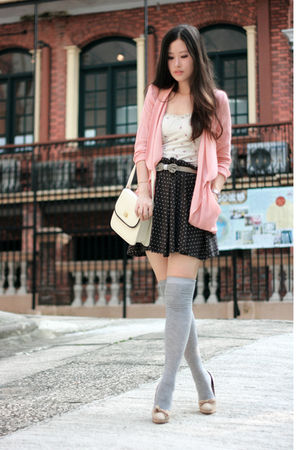 brown Pull &amp; Bear skirt - beige Chloe shoes - pink malin blazer
