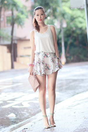 light pink o-mighty skirt - white romwe top - bubble gum romwe bracelet