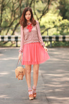beige Sheinside blouse - hot pink GOTTA skirt