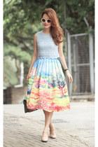 orange Chicwish skirt - white romwe sunglasses - dark khaki Valentino heels