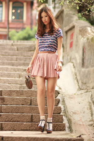 blue becky bloomwoods wardrobe dress - light pink romwe skirt - navy Marc by Mar