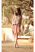 beige JUD ET ROPE vest - peach urban blues skirt - light pink Marni sandals