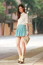 ianywear skirt - Chicwish shirt - Prada bag - sparkly collar Chicwish necklace