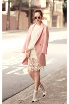 light pink Choies coat - ivory Chicwish sweater - white the layers socks