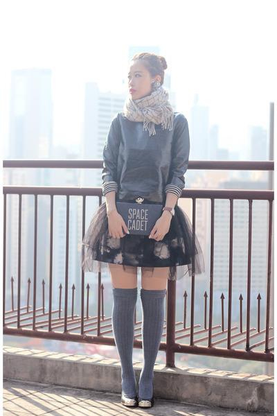black Front Row Shop top - navy kate spade bag - black Chanel heels