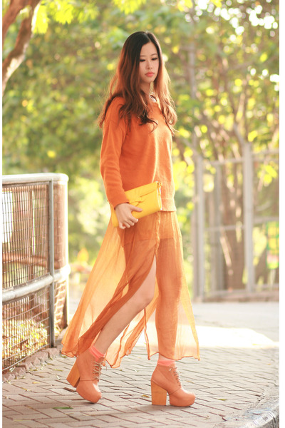bronze romwe skirt - orange Yesstyle sweater - yellow romwe bag