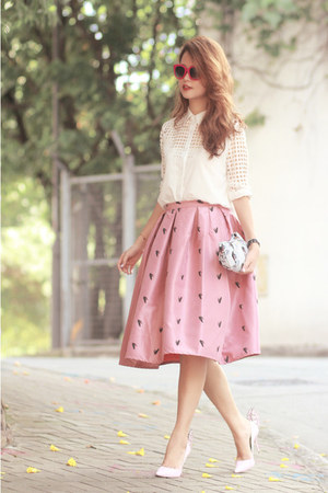 bubble gum Choies skirt - white romwe shirt - light blue Miu Miu bag