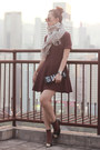 Maroon-monki-dress-black-chanel-heels
