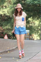sky blue lovemartini shorts - bubble gum H&M socks - tawny Opening Ceremony heel
