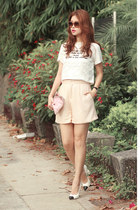 light pink Front Row Shop shorts - ivory 2 top - black Chanel heels