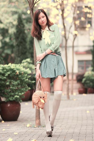tan kate spade bag - chartreuse romwe shirt - heather gray sugarfree shoes heels