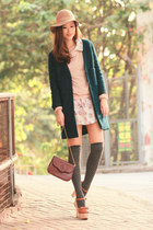 pink BBW dress - teal romwe coat - light pink romwe sweater