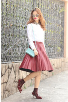 white Carven shirt - light blue carre royal bag - brick red Front Row Shop skirt