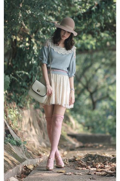 nude Monki hat - sky blue snidel sweater - ivory Zara skirt - gold kari ang heel