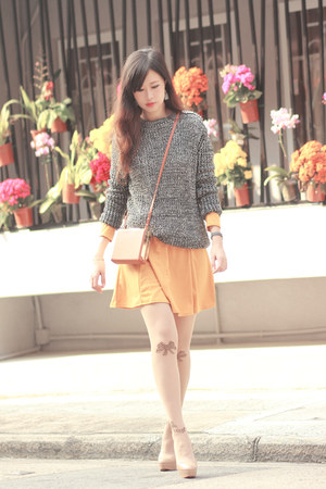 heather gray Choies sweater - light orange Sheinside dress