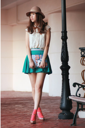teal Chicwish skirt - ivory Chicwish vest