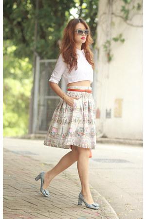 white Choies shirt - heather gray switch it sunglasses - periwinkle Choies skirt