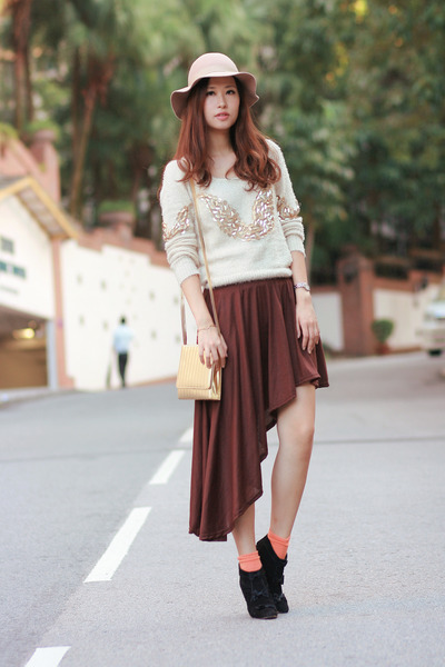 cream romwe sweater - black paul & joe boots - light orange H&M socks