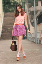 magenta baby pie skirt - carrot orange Zara belt - tawny Opening Ceremony heels