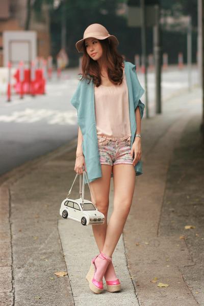 white Amliya bag - light pink Zara shorts - neutral f21 vest