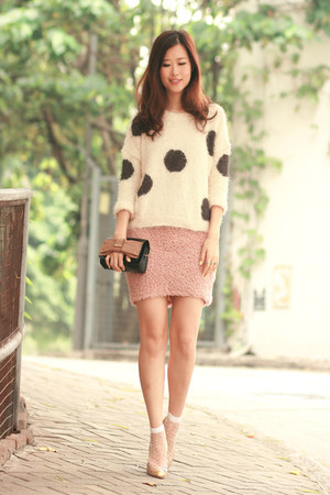 cream Yesstyle sweater - white romwe socks - light pink Minted Republic skirt