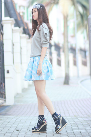 silver Yesstyle top - light blue romwe dress