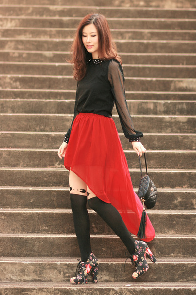 ruby red Sheinside skirt - black becky bloomwoods wardrobe dress