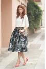 Ivory-front-row-shop-top-dark-gray-chicwish-skirt-salmon-carven-flats