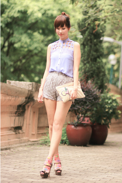 periwinkle beckybwardrobe top - heather gray Miu Miu heels