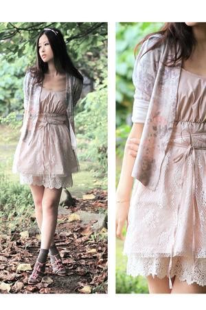 pink naive overlap cardigan - beige london muse dress - purple vanity beauty sho