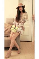 neutral snidel dress - beige Monki hat - tan shoe girl heels