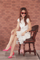 ivory Chicwish dress - salmon Choies bag - hot pink Valentino heels