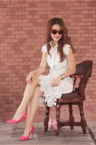 ivory Chicwish dress - salmon Choies bag - hot pink Valentino heels