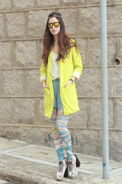 lime green romwe blazer - periwinkle Choies boots